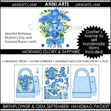 instant card making downloads birth flowers and gems september handbag packet 4 09 instant