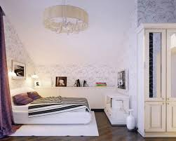 Superior Slanted Ceiling Bedroom Decor With Chandelier And Curtains Also Cabinet