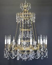 12 arm gilt and crystal chandelier ca 1900