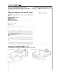 Vehicle Incident Report Template Motor Vehicle Accident Report Form