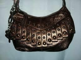 b makowsky purse copper leather silver gold studded cross shoulder handbag