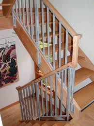Indoor Stair Railings Interior Design Simple Small Wooden Staircase With  Grey Metal Railing And Banister Ideas Wall Art Decor Attractive Designs