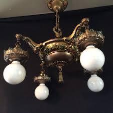 vintage antique brass victorian chandelier color accents ori