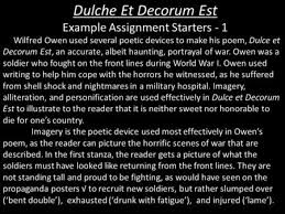 war poetry dulce et decorum est by wilfred owen comprehension  dulche et decorum est example assignment starters 1