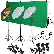 com tms photo studio photography kit w 3 light bulb lighting muslin 3 backdrop stand set photo