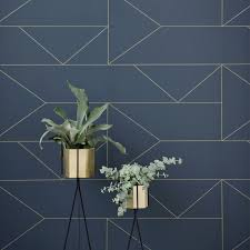 Blue And Gold Design Wallpaper Dark Blue With Gold Lines Ferm Living