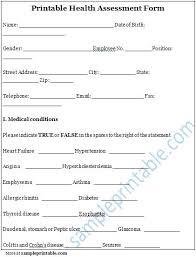 Sample Assessment Form Sample Medical Assessment Form Template Monster Crugnalebakery Co