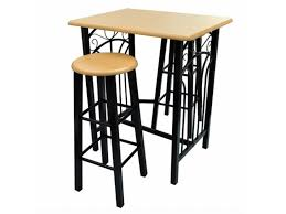 Lot De 2 Tabourets De Bar Chaise Table Haute Set Bois Acier Design