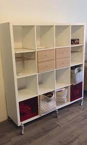 ikea white kallax 4x4 shelving unit furniture shelves drawers on carou