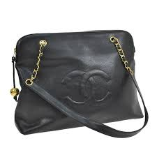 chanel duffle bag. chanel vintage black caviar leather gold large shopper travel weekend tote bag 1 duffle