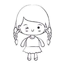 カワイイのカラフルなシルエット編んだ髪と表情ウインク目のベクトル