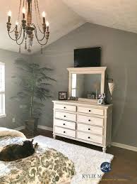 High Quality Sherwin Williams Ellie Gray In Master Bedroom With White Furniture And  Vaulted Ceiling, Chandelier. Kylie M Interiors E Design And Virtual Colour  Consulting