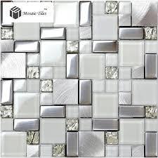 tst glass metallic tile super white silver wave glass brushed aluminium for kitchen bath backsplash tstmgb025