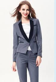 Womens Light Gray Pant Suit Us 95 99 New Arrival Light Gray Women Pant Suits Black Lapel Business Uniform Long Sleeve Ladies Party Suit B327 In Pant Suits From Womens Clothing
