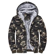 cool mens winter thick warm extra fleece lined army green camo zip up casual hoos newchic