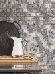 Glass Metal Gray Copper Mosaic ...