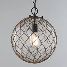 Nautical Globe Pendant Light Jute Rope Globe Pendant Coastal Bedrooms Glass Pendant