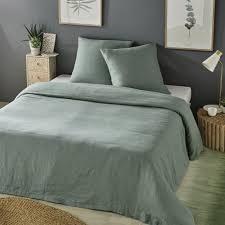 jade green washed linen bedding set