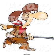 pioneer day clipart. vector of a cartoon davey crocket pioneer hunting day clipart