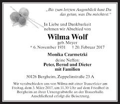 Traueranzeigen von Wilma Wolf | WirTrauern