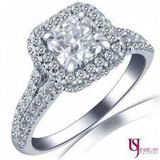 1 78 tcw e vs2 cushion cut diamond split shank halo engagement