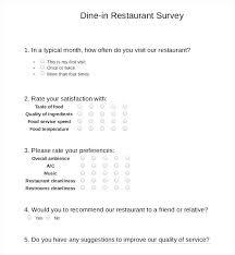 Free Survey Template Word Restaurant Survey Templates Word Free Premium Example Of