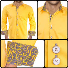 Yellow Designer Shirt Mens Mens Designer Dress Shirt Intuition