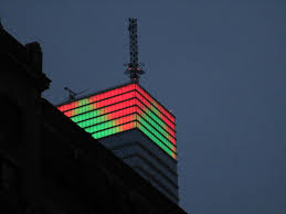 Bloomberg Building Lights Christmas Tree Green Triangle Lights Up Bloomberg Tower 5