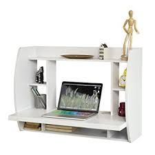 table with shelves. sobuy® fwt18-w, white wall-mounted table desk with storage shelves and r
