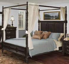 Martinique Rubbed Black Cal.King Canopy Bed With Drapes from New ...