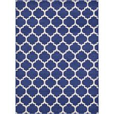 unique loom trellis dark blue 8 x 11 rug