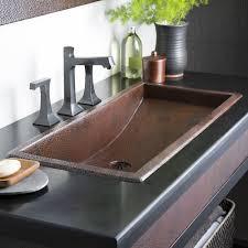 6 copper trough 36 rectangular drop in bathroom sink