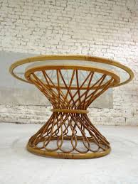 Coffee Table Rattan French Vintage Glass Rattan Coffee Table For Sale At Pamono