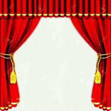 of silk stage curtain with white backdrop royalty