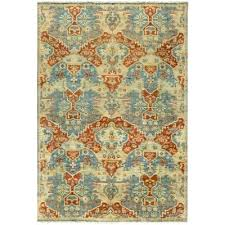 hand knotted burnt orange area rug solid