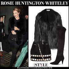rosie huntington whiteley in black faux fur stella mccartney dan coat black suede saint