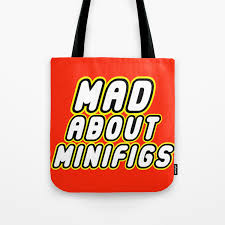 Mad By Design Bags Mad About Minifigs In Brick Font Logo Design By Chillee Wilson Tote Bag
