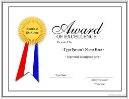 Award Of Excellence Certificate Template Special Certificate Award for Excellence with Ribbon 3