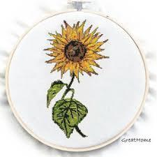 Retro Sunflower Cross Stitch Pattern Pdf Counted Chart No 74 Instructions
