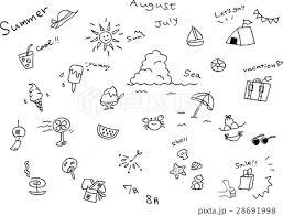 手書き 夏 アイコンセットのイラスト素材 28691998 Pixta