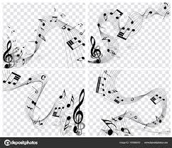 Music Staff Treble Clef Musical Designs Elements Music Staff Treble Clef Notes Black White