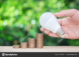 Led Stack Light Bulbs Man Hand Holding Led Bulb Site Growing Coins Stack Green