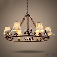 nature inspired 6 light rope chandelier with fabric shade in mottled rust finish for living room beautifulhalo com