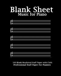 Blank Staff Paper Piano Blank Sheet Music For Piano Black Cover 8 X 10 Bracketed Staff