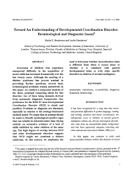 pdf toward an understanding of developmental coordination disorder terminological and diagnostic issues