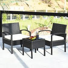 costway 3 pieces patio rattan furniture