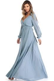 Audrina Light Blue Long Sleeve Chiffon Dress