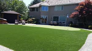 Artificial turf backyard Back Yard Pughsammamishputtinggreenlawn2syntheticturfnorthwest Seattle Bellevue Artificial Turf Lawn Installation Synthetic
