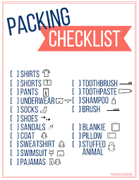 Vacation Checklist Free Printable Vacation Packing List Template For Kids