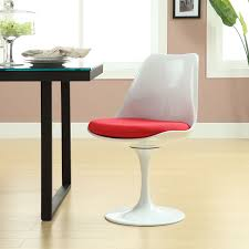 LexMod Eero Saarinen Style Tulip Side Chair with Red Cushion: Amazon.ca:  Home & Kitchen